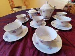 Zsolnay manófüles pajzspecsétes 6 személyes teás készlet az 1930-as évekből
