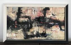 Rác András hidegzománc Kompozíció 1993. 100 cm x 60 cm kerettel együtt