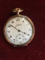 Junghans aranyozott ezüst alsó másodperc körös art deco zsebóra különleges bevéséssel