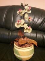 Művírág -  orchidea színes kaspóban