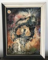 """Rác András hidegzománc  """"Konstrukció-család"""" 1993. 67 cm x 51 cm kerettel együtt"""