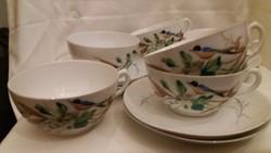 Kézzel festett madaras cseh porcelán teáscsésze szett