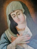 Antik olaj/vászon 18.századi szentkép! Madonna! 1956ban bírálaton szerepelt (MNG). 64x42cm