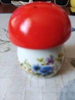 Ritka régi jelzett Aquincum fűszerszóró piros gombácska kézi festésű virágcsokorral