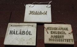 Templomból régi márvány emléklap_Hála márványból :  Hálából - Jézuskának emlékül amiért megsegített