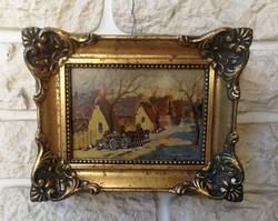 Németh György festmény, laparanyozott blondel keretben. Falusi jelenet, lovas fogat, kocsi, baromfi