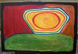 Inspiráció c. kettő mű. Nagy kép, kis kép kedvező áron. Károlyfi Zsófia Prima díj.120x80 cm.