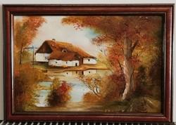Pintér László - Az én tanyám ( 20 x 30, olaj , gyönyörű keretben )