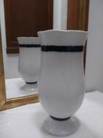 Hollóházi kobalt kék fehér porcelán virág váza