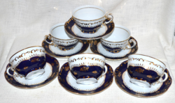 6 db Zsolnay Pompadour teás csésze + aljuk  ( DBZ 00129 )