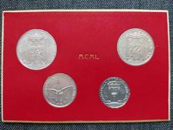 Vatikán 4 darabos érme szett MCML eredeti díszcsomagolásban 1950 (id37396)
