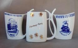 3 darab régi Cseh porcelán kúra pohár, fürdőpohár egyben