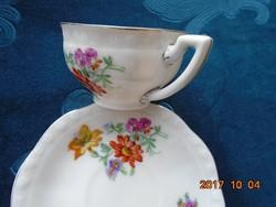 Kézzel festett pajzspecsétes Zsolnay, Meisseni virágmintás,Platina csíkos kávés csésze alátéttel