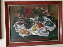 Szentgyörgyi Kornél olaj-vászon festmény, Csendélet, 115 ezer Ft