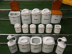 Régi 16 részes porcelán  fűszertartó készlet.
