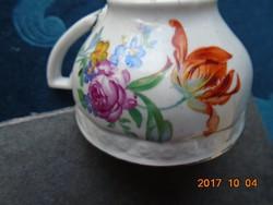 Kézzel festett Zsolnay pajzspecsétes, Meisseni virágmintás, Platina csíkos kávés csésze