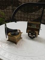 Réz mini gramofon és kintorna