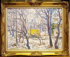 Orosz Gellért (1919-2002) : Kert télen,60 x 80 cm, olaj-farost,szép kerettel