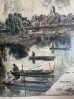Aszódi Weil Erzsébet: Győri halászok,  51x41 rézkarc