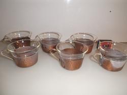 Fém - VÖRÖSRÉZ - JÉNAI - kávéskészlet - 10 x 5 cm - kb 1,5 dl - hibátlan