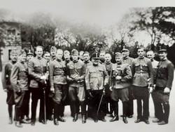 Régi mini katona fotó csoportkép fénykép 2 db