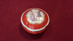 Rokokó jelenetes, életképes porcelán szelence, bonbonier