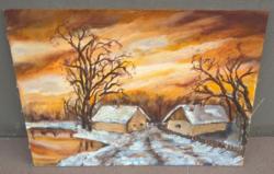 Szép tanyarészlet festmény