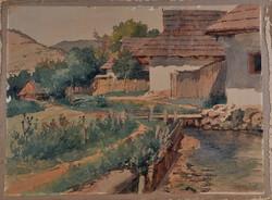 Ismeretlen festő, faluszéli patak, akvarell