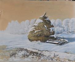 Ismeretlen festő, téli tájkép