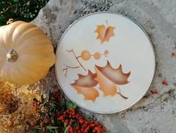 Art deco fajansz tálca, edényalátét, krómozott fém keretben, gömb lábakon