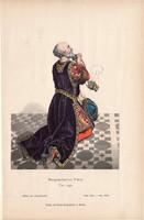 Viselettörténet (51), litográfia 1880, öltözet, ruha, divat, német, burgundiai fejedelem, 1450