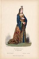 Viselettörténet (31), litográfia 1880, öltözet, ruha, divat, német, francia hölgy, XV. század