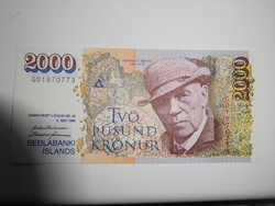 Izland 2000 krónor 1986 UNC  Nagyon Ritka!