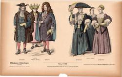 Viselettörténet (46), litográfia 1885, öltözet, ruha, divat, német, francia, történelem, 1670, 1690