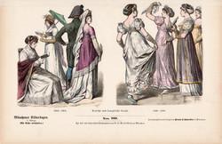 Viselettörténet (18), litográfia 1885, öltözet, ruha, divat, német, francia, történelem, 1802, 1809