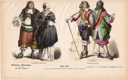 Viselettörténet (10), litográfia 1880, öltözet, ruha, divat, német, francia, történelem, holland
