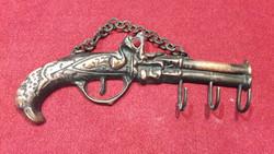 Réz pisztoly formájú kulcstartó