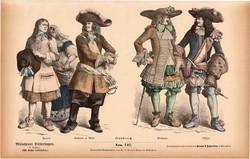 Viselettörténet (16), litográfia 1885, öltözet, ruha, divat, német, francia, történelem, katona