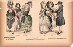 Viselettörténet (63), litográfia 1885, öltözet, ruha, divat, német, francia, nemes, történelem, 1780