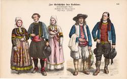 Viselettörténet (34), litográfia 1880, öltözet, ruha, divat, német, francia, történelem, Bretagne