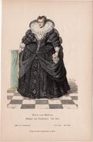 Viselettörténet (29), litográfia 1880, öltözet, ruha, divat, francia, Medici Mária, 1610, királyné