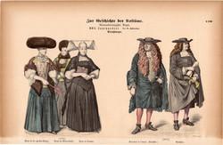 Viselettörténet (47), litográfia 1885, öltözet, ruha, divat, német, francia, történelem, 1670, hölgy