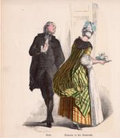 Viselettörténet (2), litográfia 1885, öltözet, ruha, divat, német, francia, történelem, abbé viselet