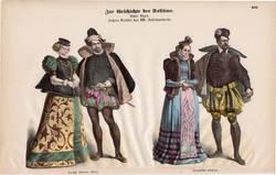 Viselettörténet (42), litográfia 1880, öltözet, ruha, divat, német, francia, történelem, XVI. század