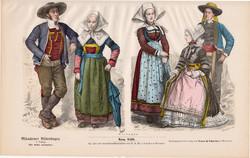 Viselettörténet (32), litográfia 1880, öltözet, ruha, divat, német, francia, történelem, Bretagne