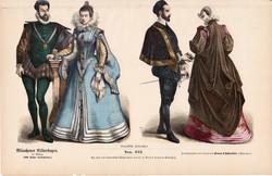 Viselettörténet (61), litográfia 1885, öltözet, ruha, divat, német, francia, történelem, viselet