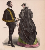 Viselettörténet (6), litográfia 1885, öltözet, ruha, divat, német, francia, történelem, nemes
