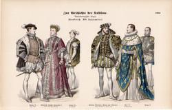 Viselettörténet (50), litográfia 1885, öltözet, ruha, divat, francia, történelem, király, királyné