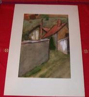 Szentendrei részletet ábrázoló, hangulatos akvarell. paszpartuban 26x37 cm képméret 17x26.5 cm
