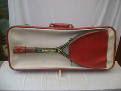Retro teniszütő tok, tartó, bőrönd + FISCHER ütő